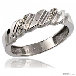 10k White Gold Ladies' Diamond Wedding Ring Band, w/ 0.063 Carat Brilliant Cut Diamonds, 5/32 in. (5mm) wide