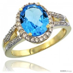 14k Yellow Gold Ladies Natural Swiss Blue Topaz Ring oval 10x8 Stone Diamond Accent
