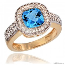 14k Yellow Gold Ladies Natural Swiss Blue Topaz Ring Cushion-cut 3.5 ct. 7x7 Stone Diamond Accent
