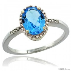 14k White Gold Diamond Swiss Blue Topaz Ring 1.17 ct Oval Stone 8x6 mm, 3/8 in wide