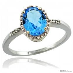 14k White Gold Diamond Swiss Blue Topaz Ring 1.17 ct Oval Stone 8x6 mm, 3/8 in wide