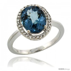 Sterling Silver Diamond Halo Natural London-Blue Topaz Ring 2.4 carat Oval shape 10X8 mm, 1/2 in (12.5mm) wide