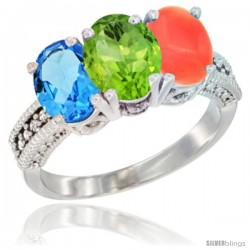 14K White Gold Natural Swiss Blue Topaz, Peridot & Coral Ring 3-Stone 7x5 mm Oval Diamond Accent