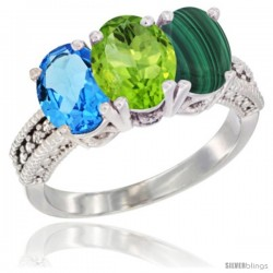 14K White Gold Natural Swiss Blue Topaz, Peridot & Malachite Ring 3-Stone 7x5 mm Oval Diamond Accent