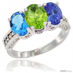 14K White Gold Natural Swiss Blue Topaz, Peridot & Tanzanite Ring 3-Stone 7x5 mm Oval Diamond Accent