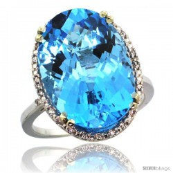 14k White Gold Diamond Halo Large Swiss Blue Topaz Ring 10.3 ct Oval Stone 18x13 mm, 3/4 in wide