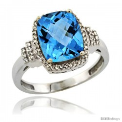 14k White Gold Diamond Halo Swiss Blue Topaz Ring 2.4 ct Cushion Cut 9x7 mm, 1/2 in wide