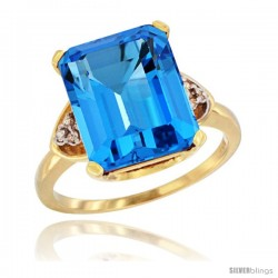 14k Yellow Gold Ladies Natural Swiss Blue Topaz Ring Emerald-shape 12x10 Stone Diamond Accent