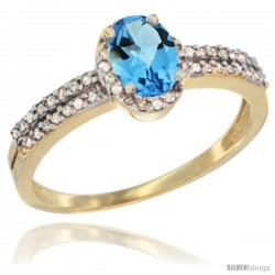 14k Yellow Gold Ladies Natural Swiss Blue Topaz Ring oval 6x4 Stone Diamond Accent -Style Cy404178