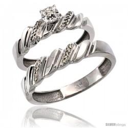 10k White Gold 2-Pc Diamond Ring Set (5mm Engagement Ring & 5mm Man's Wedding Band), w/ 0.143 Carat Brilliant Cut Diamonds