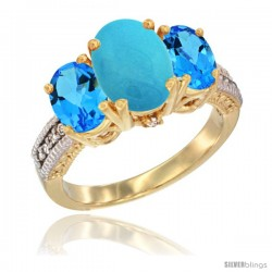14K Yellow Gold Ladies 3-Stone Oval Natural Turquoise Ring with Swiss Blue Topaz Sides Diamond Accent