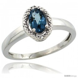 Sterling Silver Diamond Halo Natural London Blue Topaz Ring 0.75 Carat Oval Shape 6X4 mm, 3/8 in (9mm) wide
