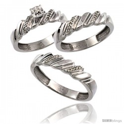 10k White Gold 3-Pc. Trio His (5mm) & Hers (5mm) Diamond Wedding Ring Band Set, w/ 0.20 Carat Brilliant Cut Diamonds