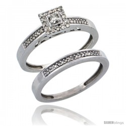 10k White Gold 2-Piece Diamond Engagement Ring Set, w/ 0.27 Carat Brilliant Cut Diamonds, 3/32 in. (2.5mm) wide