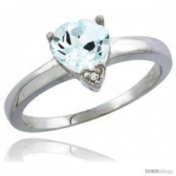 14K White Gold Natural Aquamarine Heart-shape 7x7 Stone Diamond Accent