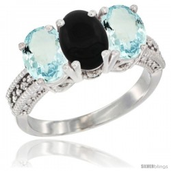 14K White Gold Natural Black Onyx & Aquamarine Sides Ring 3-Stone Oval 7x5 mm Diamond Accent