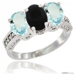 14K White Gold Natural Black Onyx & Aquamarine Sides Ring 3-Stone Oval 7x5 mm Diamond Accent