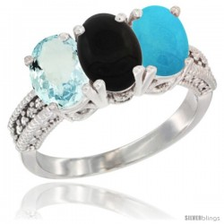 14K White Gold Natural Aquamarine, Black Onyx & Turquoise Ring 3-Stone Oval 7x5 mm Diamond Accent