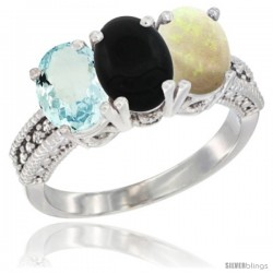 14K White Gold Natural Aquamarine, Black Onyx & Opal Ring 3-Stone Oval 7x5 mm Diamond Accent