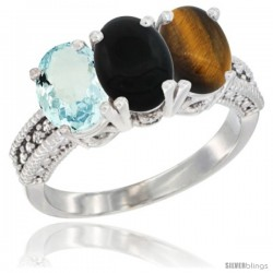 14K White Gold Natural Aquamarine, Black Onyx & Tiger Eye Ring 3-Stone Oval 7x5 mm Diamond Accent