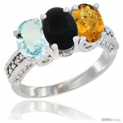 14K White Gold Natural Aquamarine, Black Onyx & Whisky Quartz Ring 3-Stone Oval 7x5 mm Diamond Accent