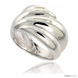 Sterling Silver Ridged Dome Ring Flawless finish 5/8 in wide