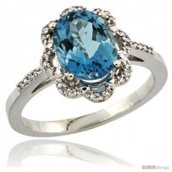 Sterling Silver Diamond Halo Natural London Blue Topaz Ring 1.65 Carat Oval Shape 9X7 mm, 7/16 in (11mm) wide
