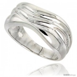 Sterling Silver Wavy Band Ring Flawless finish 3/8 in wide