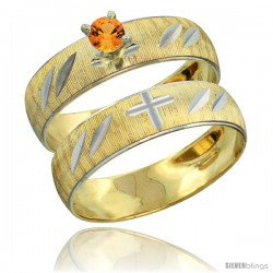 10k Gold Ladies' 2-Piece 0.25 Carat Orange Sapphire Engagement Ring Set Diamond-cut Pattern Rhodium Accent, -Style 10y504e2