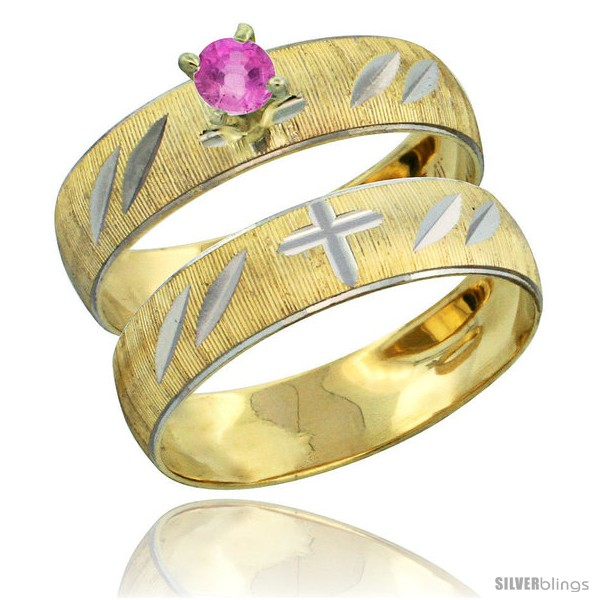https://www.silverblings.com/27994-thickbox_default/10k-gold-ladies-2-piece-0-25-carat-pink-sapphire-engagement-ring-set-diamond-cut-pattern-rhodium-accent-3-16-style-10y504e2.jpg