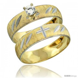 10k Gold Ladies' 2-Piece 0.25 Carat White Sapphire Engagement Ring Set Diamond-cut Pattern Rhodium Accent, 3/16 -Style 10y504e2