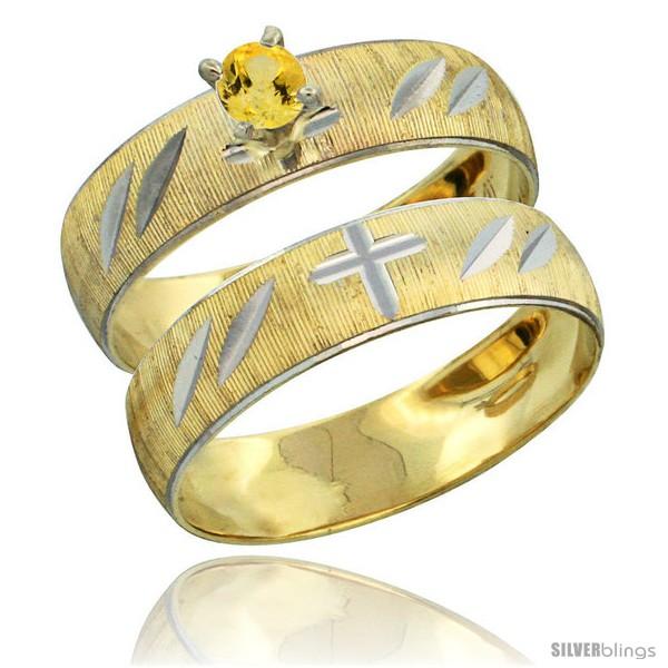 https://www.silverblings.com/28002-thickbox_default/10k-gold-ladies-2-piece-0-25-carat-yellow-sapphire-engagement-ring-set-diamond-cut-pattern-rhodium-accent-style-10y504e2.jpg