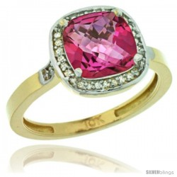 10k Yellow Gold Diamond Pink Topaz Ring 2.08 ct Checkerboard Cushion 8mm Stone 1/2.08 in wide