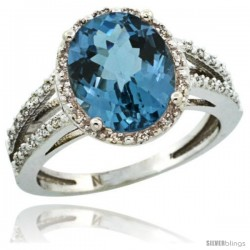 Sterling Silver Diamond Halo Natural London Blue Topaz Ring 2.85 Carat Oval Shape 11X9 mm, 7/16 in (11mm) wide