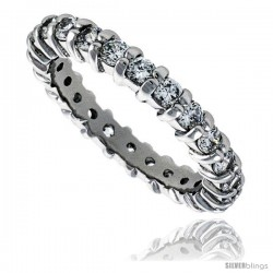 Sterling Silver Cubic Zirconia Eternity Band Ring Brilliant Cut 2.5mm Rhodium finish