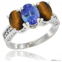 10K White Gold Natural Tanzanite & Tiger Eye Sides Ring 3-Stone Oval 7x5 mm Diamond Accent