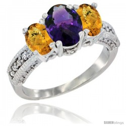 10K White Gold Ladies Oval Natural Amethyst 3-Stone Ring with Whisky Quartz Sides Diamond Accent