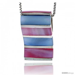 "Sterling Silver Striped Rectangular Slider Shell Pendant, w/ Pink & Blue Mother of Pearl inlay, 1"" (26 mm) tall& 18"" Thin Snake"
