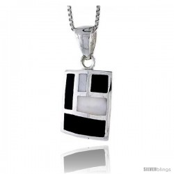 "Sterling Silver Rectangular Shell Pendant, w/ Black & White Mother of Pearl inlay, 7/8"" (22 mm) tall& 18"" Thin Snake Chain"