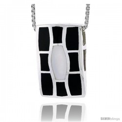"Sterling Silver Rectangular Slider Shell Pendant, w/ Black & White Mother of Pearl inlay, 13/16"" (21 mm) tall& 18"" Thin Snake"