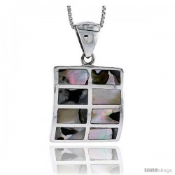 "Sterling Silver Square Shell Pendant, w/ Colorful Mother of Pearl inlay, 1 1/16"" (26 mm) tall& 18"" Thin Snake Chain"