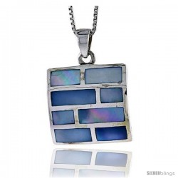 "Sterling Silver Square Shell Pendant, w/ Colorful Mother of Pearl inlay, 1 1/16"" (26 mm) tall& 18"" Thin Snake Chain -Style Tps8"
