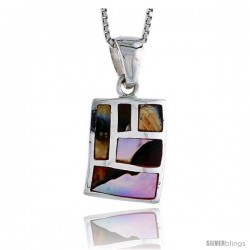 "Sterling Silver Rectangular Shell Pendant, w/ Colorful Mother of Pearl inlay, 7/8"" (22 mm) tall& 18"" Thin Snake Chain"