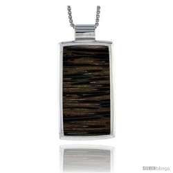 "Sterling Silver Rectangular Slider Pendant, w/ Ancient Wood Inlay, 1 1/8"" (29 mm) tall, w/ 18"" Thin Snake Chain"