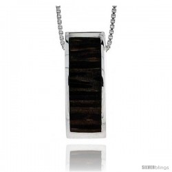 "Sterling Silver Rectangular Slider Pendant, w/ Ancient Wood Inlay, 7/8"" (22 mm) tall, w/ 18"" Thin Snake Chain"