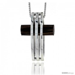 w// 18 Thin Snake Chain Sterling Silver Square-Shaped Slider Pendant 22 mm 7//8 inch Tall w//Ancient Wood Inlay
