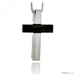 "Sterling Silver Latin Cross Slider Pendant, w/ Ancient Wood Inlay, 1 7/16"" (37 mm) tall, w/ 18"" Thin Snake Chain"