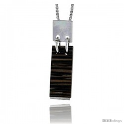 """Sterling Silver Bar Slider Pendant, w/ Ancient Wood Inlay, 1 1/16"""" (27 mm) tall, w/ 18"""" Thin Snake Chain"""