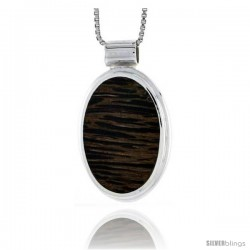 "Sterling Silver Oval Slider Pendant, w/ Ancient Wood Inlay, 1"" (26 mm) tall, w/ 18"" Thin Snake Chain"