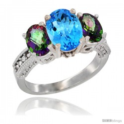 10K White Gold Ladies Natural Swiss Blue Topaz Oval 3 Stone Ring with Mystic Topaz Sides Diamond Accent